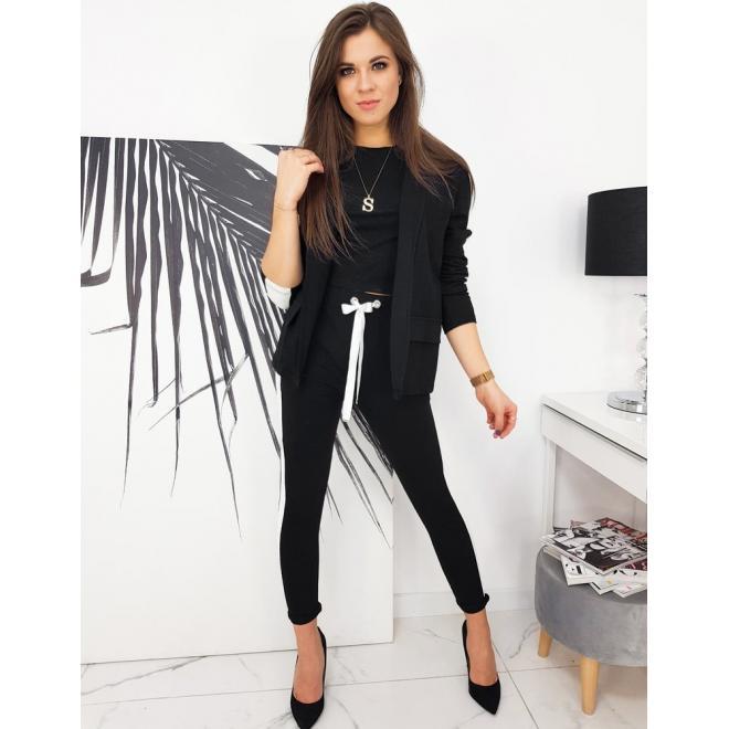 Stylový dámský komplet saka a kalhot v černé barvě