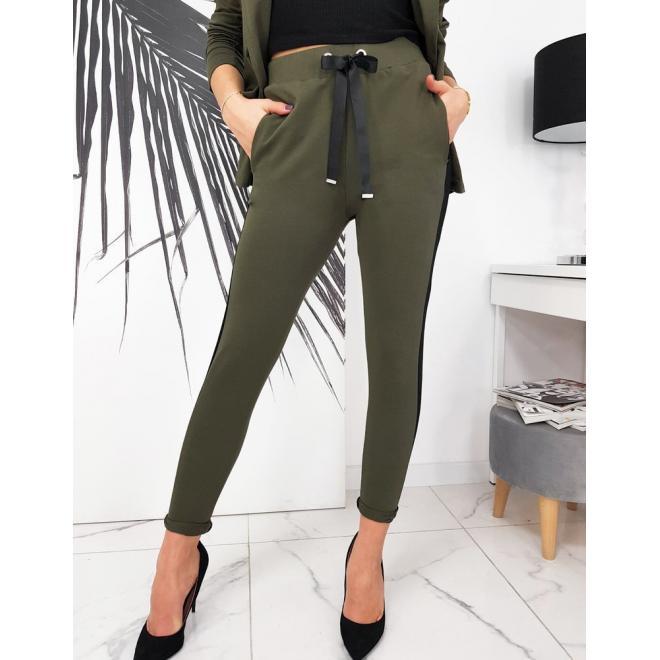Dámský stylový komplet saka a kalhot v olivové barvě