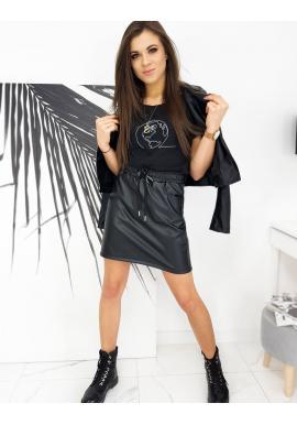 Černá koženková sukně s gumou v pase pro dámy