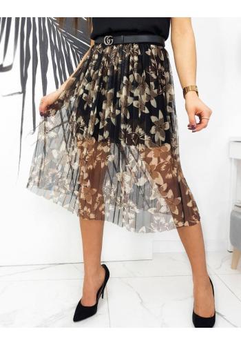 Dámská tylová sukně s květinami v černé barvě