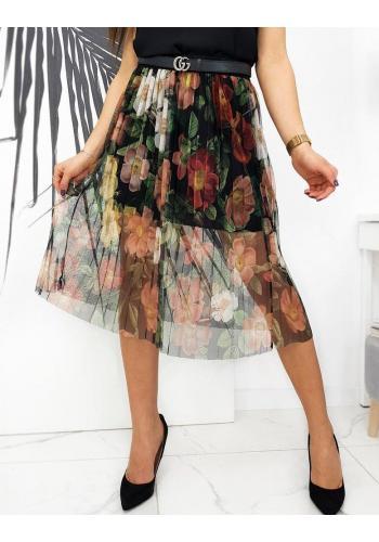 Tylová dámská sukně černé barvy s květinami