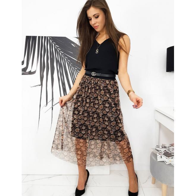 Černá midi sukně s květinami pro dámy
