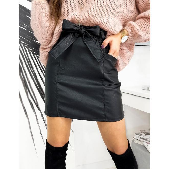 Černá koženková sukně s vázáním v pase pro dámy