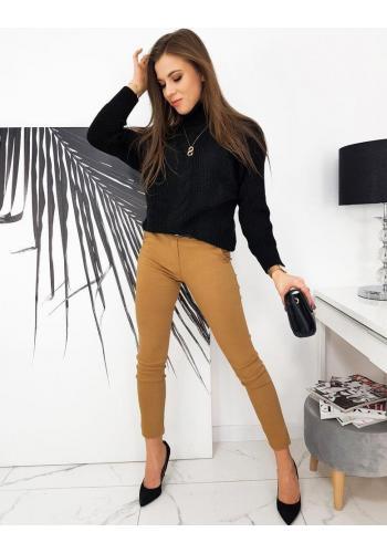Elegantní dámské kalhoty světle hnědé barvy s páskem