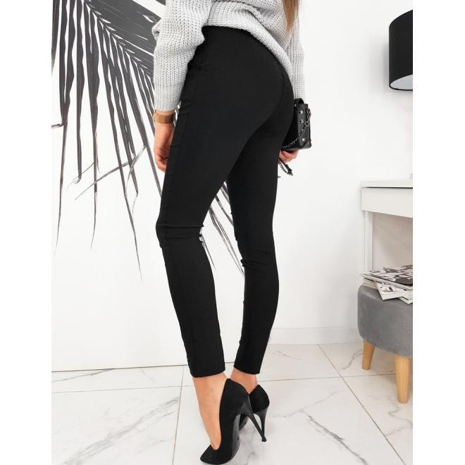 Černé elegantní kalhoty s páskem pro dámy