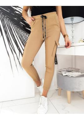 Dámské stylové kapsáče s gumou v pase v hnědé barvě