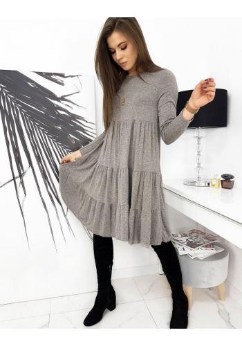 Oversize dámské šaty šedé barvy s dlouhým rukávem