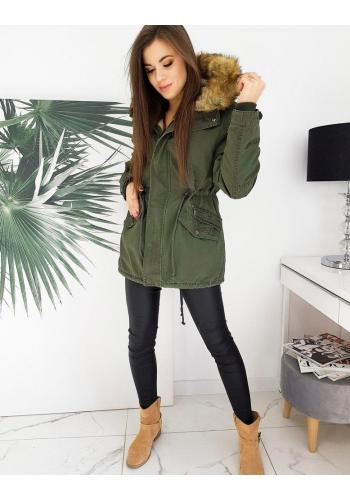 Kaki zimní parka s kapucí pro dámy