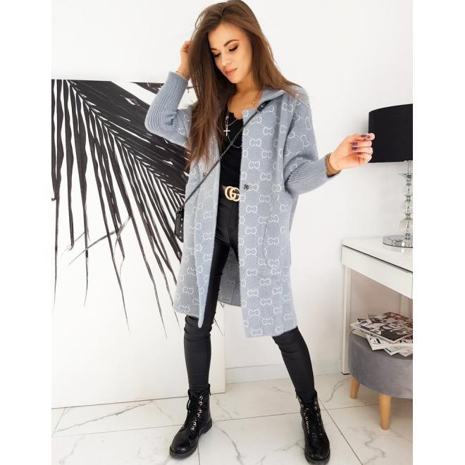 Teplý dámský kabát šedé barvy se vzorem