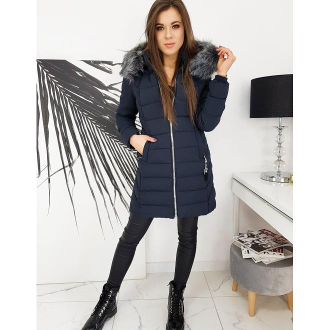 Dámská prošívaná bunda na zimu v tmavě modré barvě