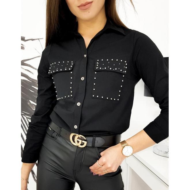 Černá stylová košile s ozdobnými perlami pro dámy
