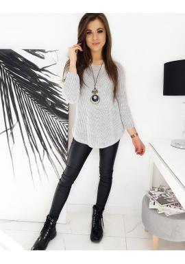 Světle šedý volnější svetr pro dámy