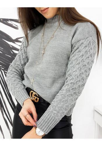 Dámský podzimní svetr s originálními rukávy ve světle šedé barvě
