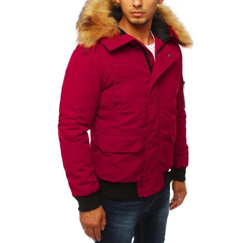 Zimní pánská bunda bordové barvy s kapucí