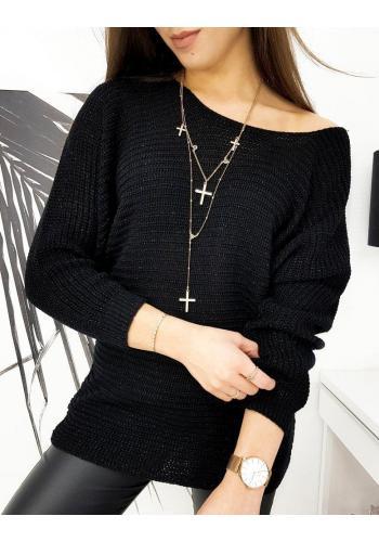 Dámský volný svetr s třpytivou nití v černé barvě