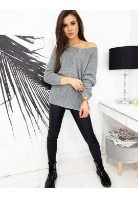 Světle šedý volný svetr s třpytivou nití pro dámy