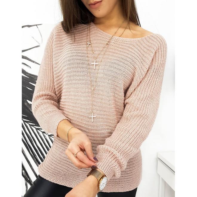Volný dámský svetr růžové barvy s třpytivou nití