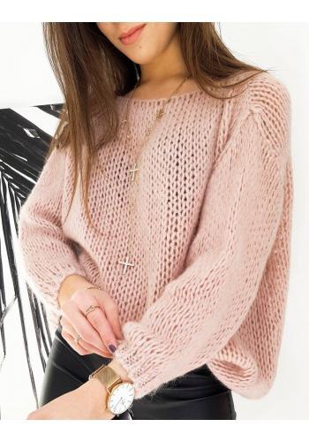 Dámský oversize svetr v růžové barvě