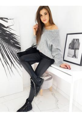 Světle šedý oversize svetr pro dámy