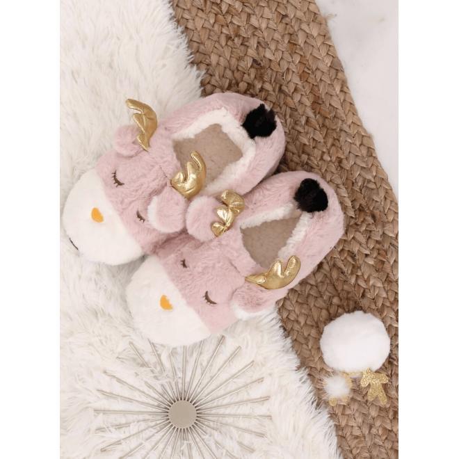 Dámské kožešinové bačkory se sobem v růžové barvě