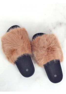 Dámské módní pantofle s kožešinou v hnědé barvě