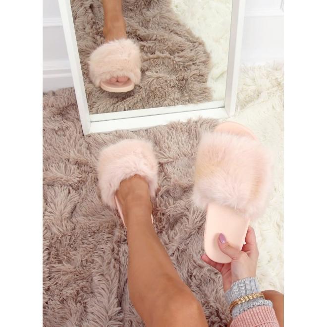 Světle růžové módní pantofle s kožešinou pro dámy