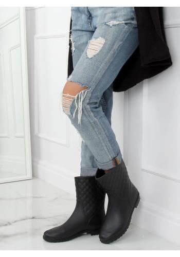 Prošívané dámské gumáky černé barvy