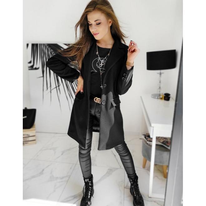 Černý jednořadý kabát se dvěma knoflíky pro dámy