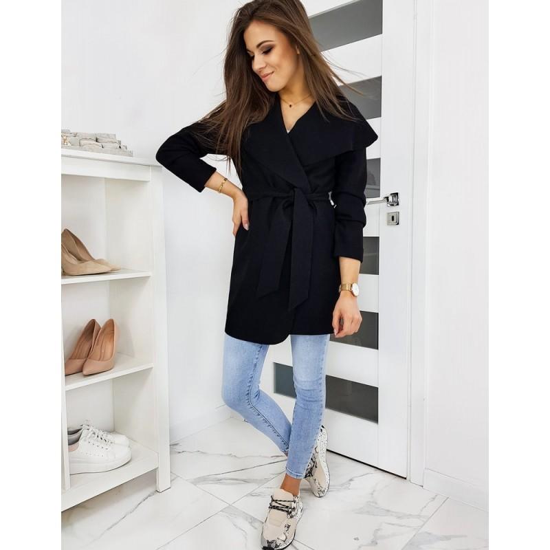 Černý jarní kabát s vázáním v pase pro dámy