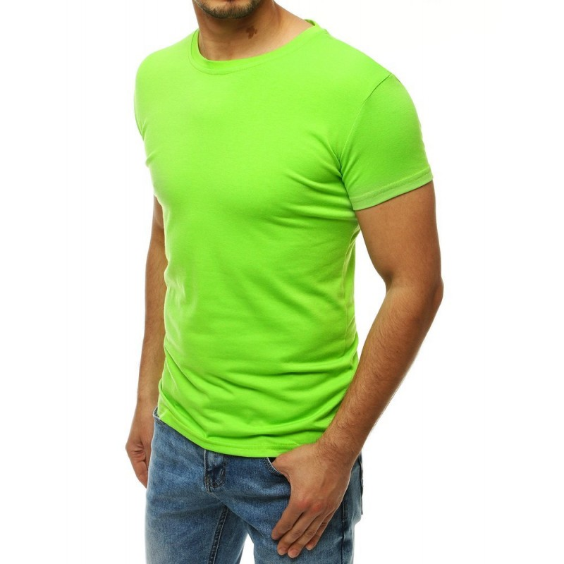 Klasické pánské tričko limetkové barvy s krátkým rukávem