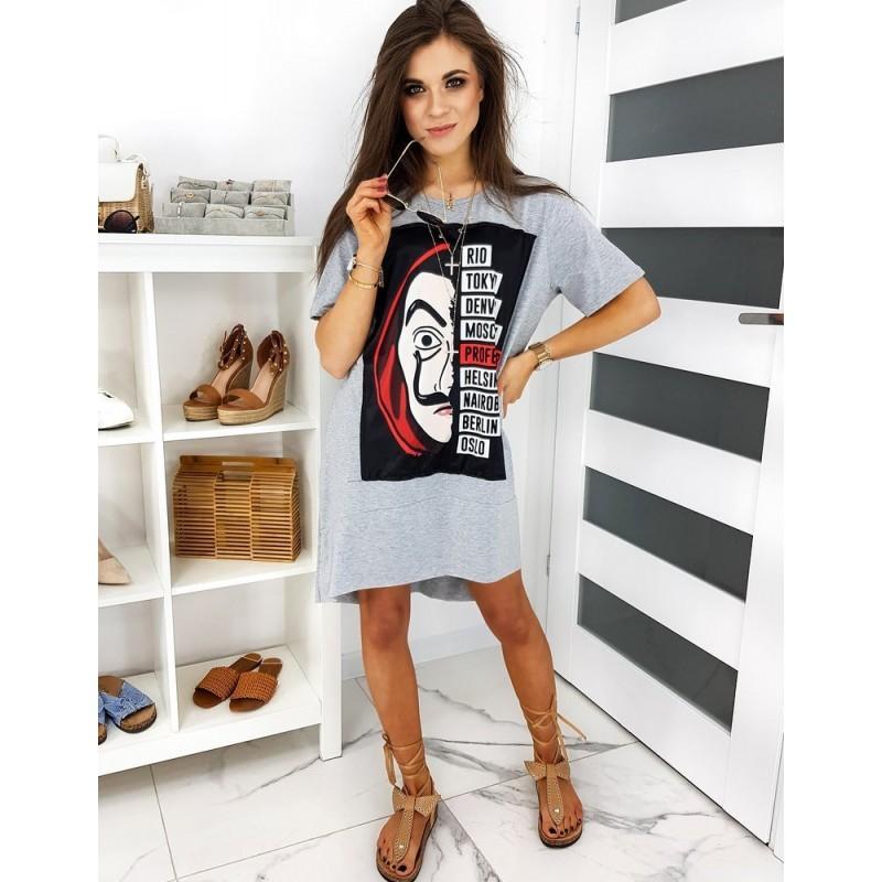Dámské oversize šaty s potiskem v šedé barvě