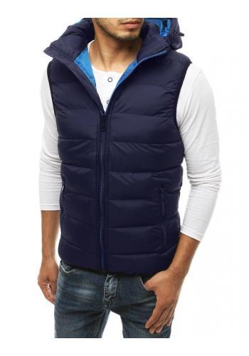 Pánská prošívaná vesta s kapucí v tmavě modré barvě v akci