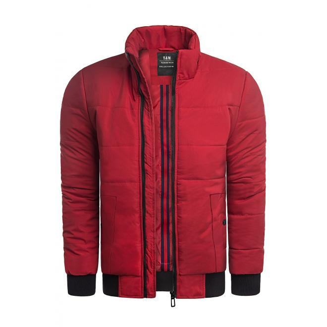 Pánské zimní bundy s prošíváním v červené barvě