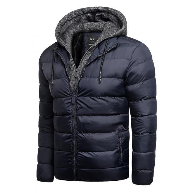 Pánská zimní bunda s odepínací kapucí v tmavě modré barvě