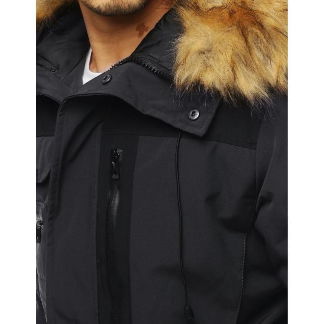 Tmavě šedá dlouhá bunda na zimu pro pány
