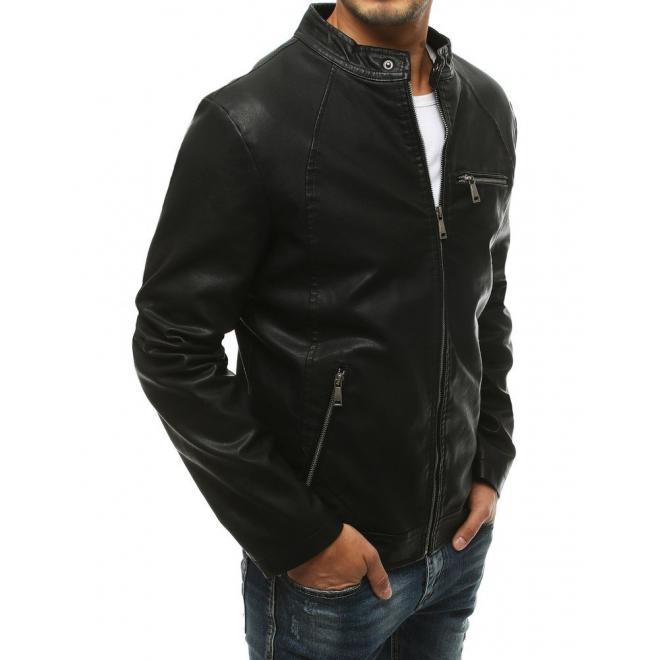 Pánská kožená bunda v černé barvě