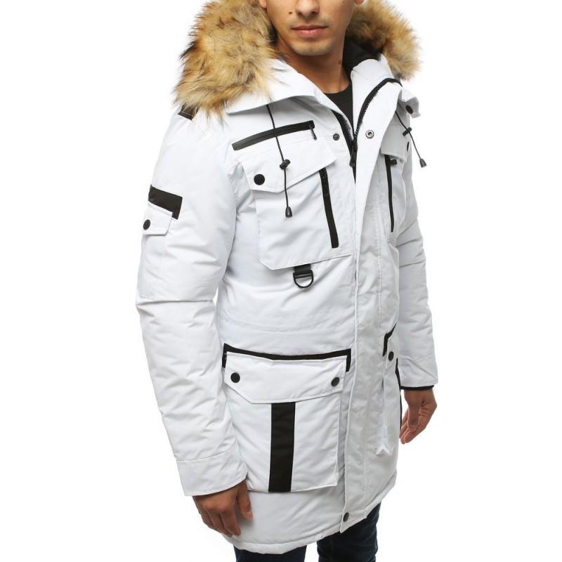 Bílá zimní bunda s kapucí pro pány