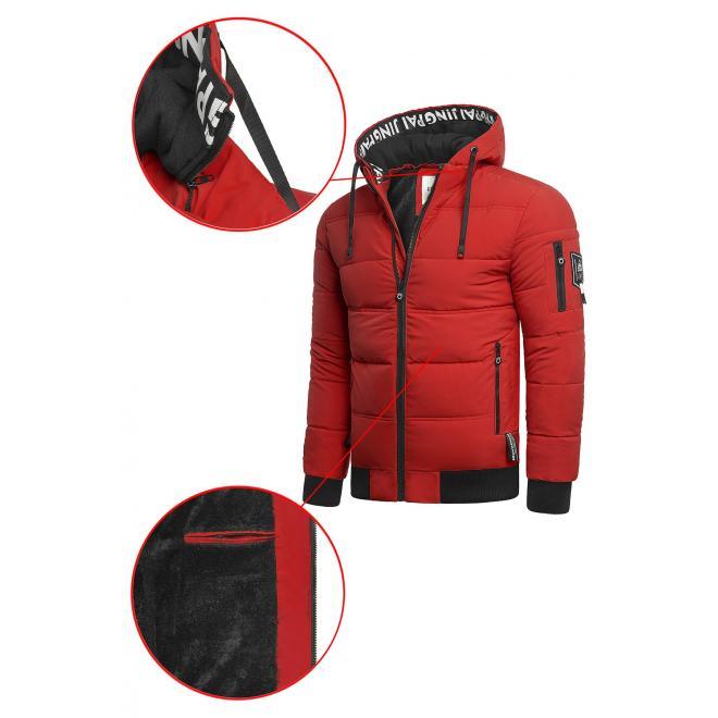 Teplá pánská bunda červené barvy na zimu