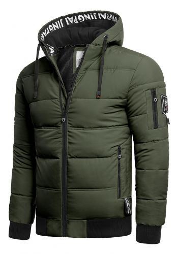 Kaki teplá bunda na zimu pro pány