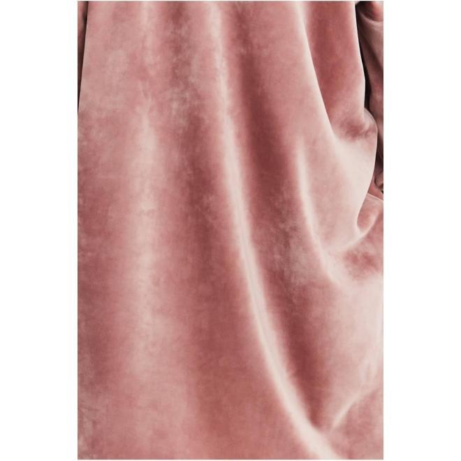 Dámská sametová souprava s ozdobným pruhem v růžové barvě