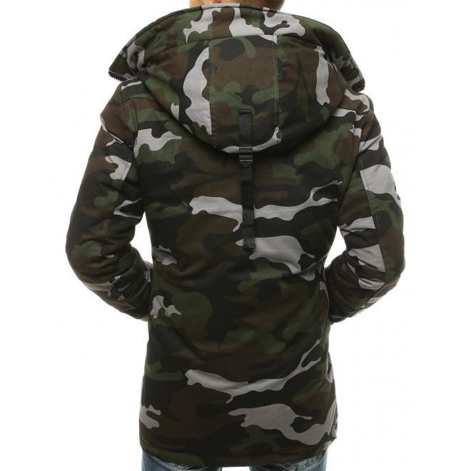 Kaki zimní bunda s kapucí pro pány