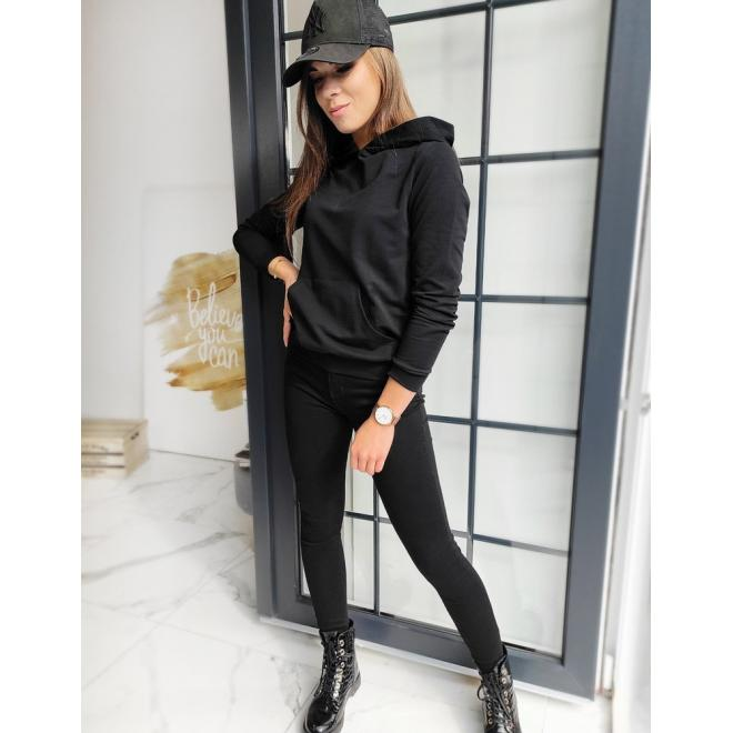 Klasická dámská mikina černé barvy s kapucí