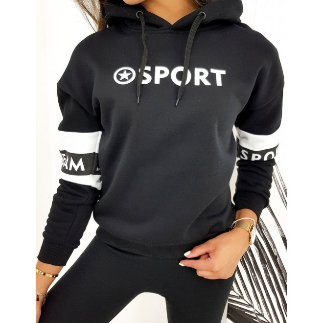 Dámská sportovní mikina s potiskem v černé barvě