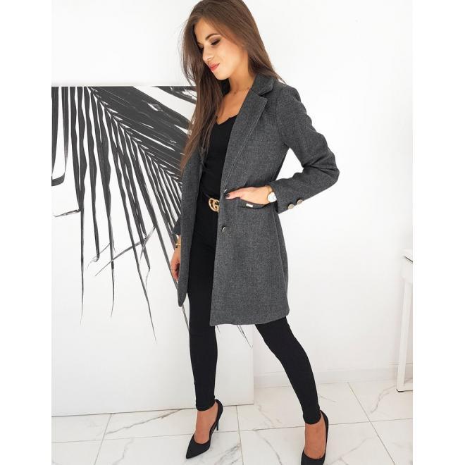 Tmavě šedý jednořadý kabát se dvěma knoflíky pro dámy