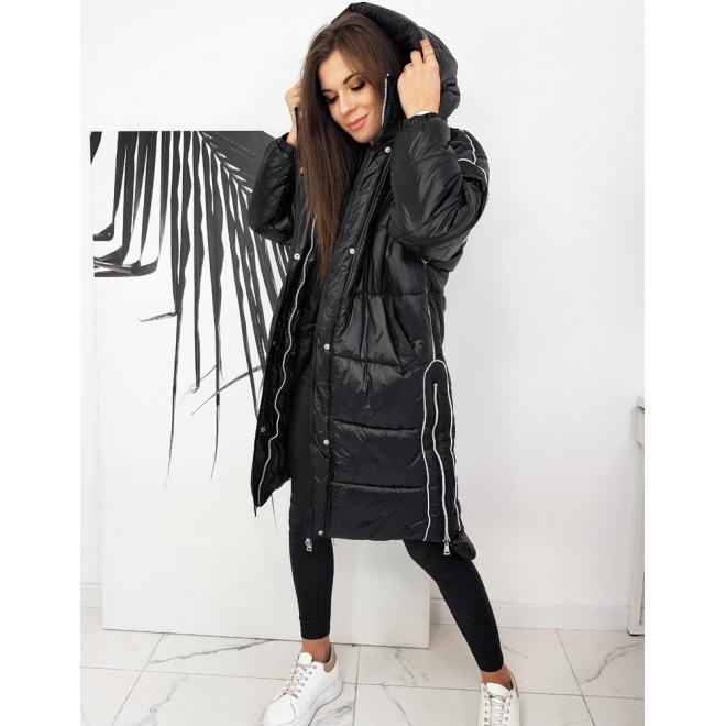 Dámská dlouhá oversize bunda s kapucí v černé barvě