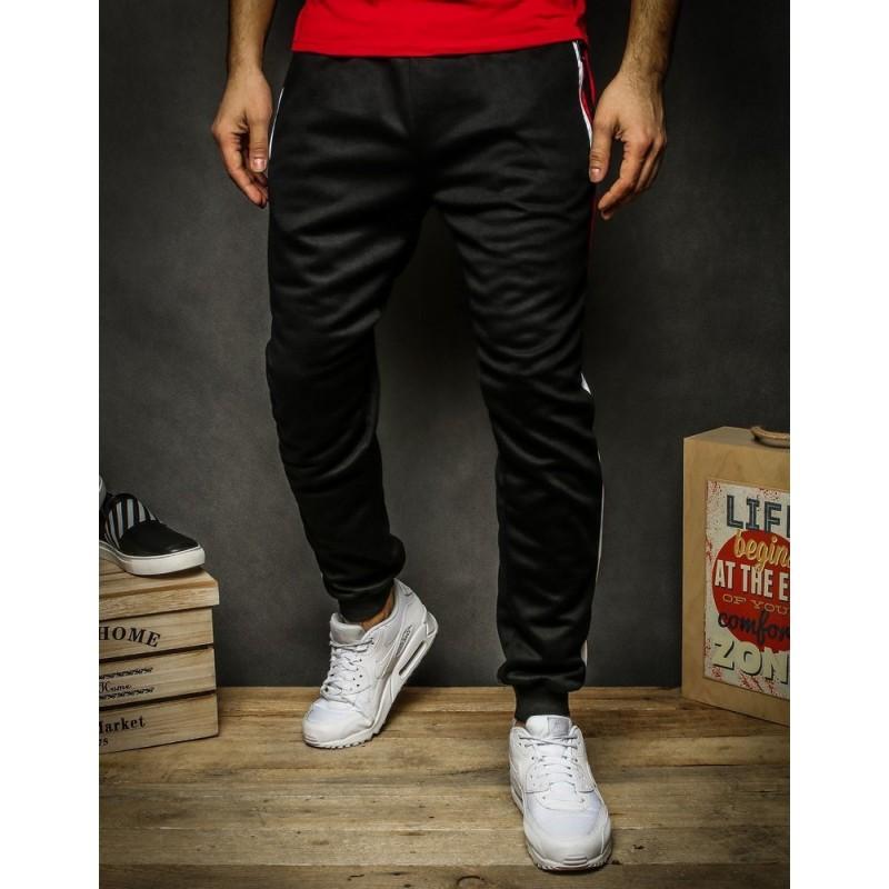 Pánské stylové tepláky s kontrastními pásy v černé barvě
