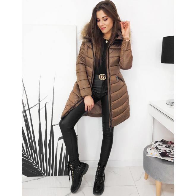 Dámská prošívaná bunda na zimu v hnědé barvě