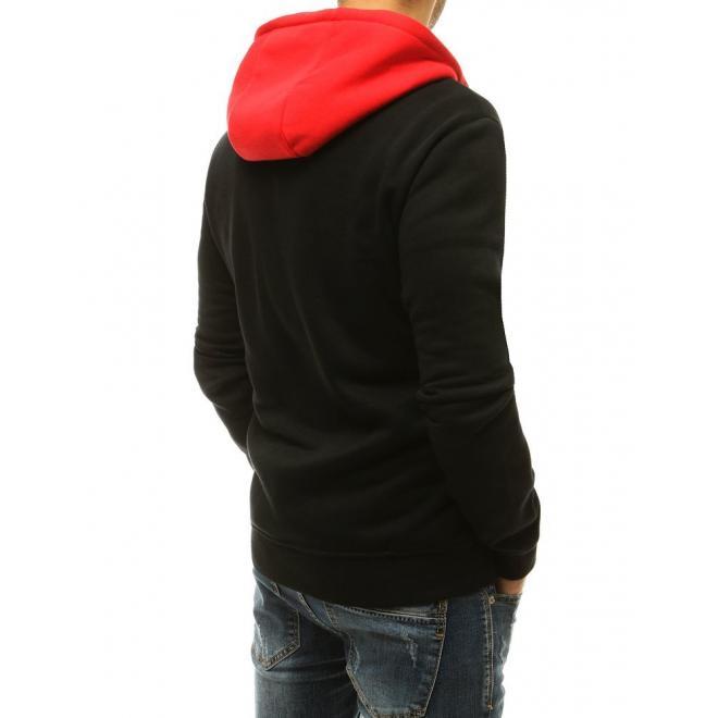 Stylové pánské mikiny černé barvy s kontrastní vložkou