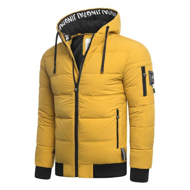 Žlutá teplá bunda na zimu pro pány
