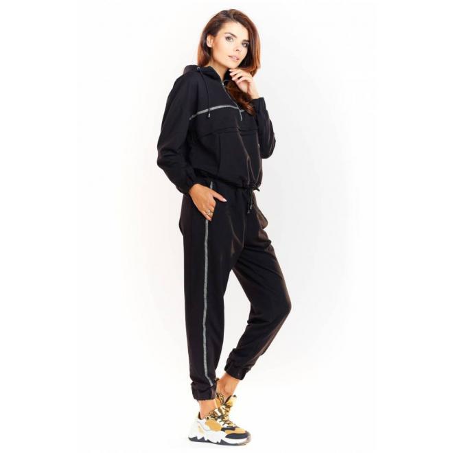 Černá módní souprava s třpytivým pásem pro dámy